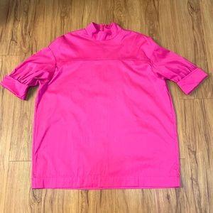 Zara Hot Pink Fuchsia Mock Neck Quarter Sleeve Top